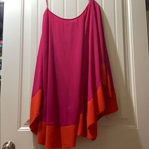 Orange and pink off the shoulder chiffon dress